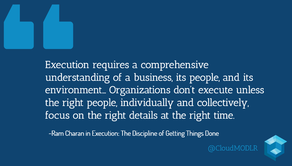 Execution requires a comprehensive understanding of a business, its people, and its environment? Organizations don't execute unless the right people, individually and collectively, focus on the right details at the right time. ~Ram Charan in *Execution: The Discipline of Getting Things Done*