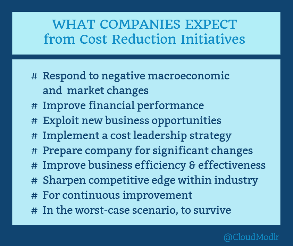 What companies expect from Cost Reduction Initiatives